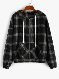 ZAFUL Hooded Plaid Zip Up Wool Blend Jacket - Black M