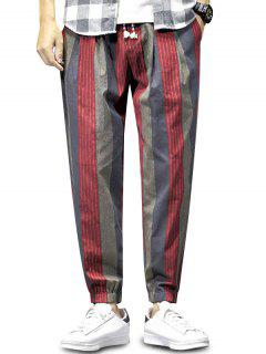 Colorblock Striped Pattern Beam Feet Pants - Red Wine Xs