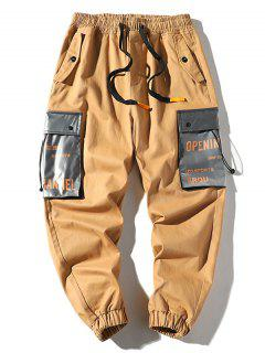 Letter Print Colorblock Pocket Cargo Pants - Khaki Xs