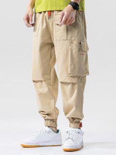 Letter Print Multi-Pocket Beam Feet Cargo Pants - Khaki 3xl