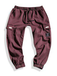 Letter Applique Geometric Embroidered Cargo Pants - Red Wine Xs