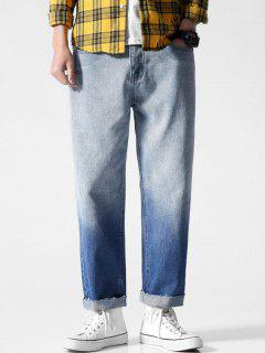 Frayed Hem Two Tone Straight Jeans - Blue Xl