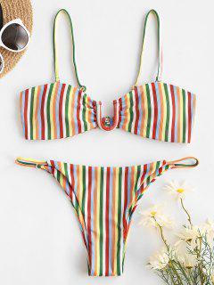 ZAFUL U-bar Ribbed Rainbow Striped Bikini Swimwear - Light Pink M