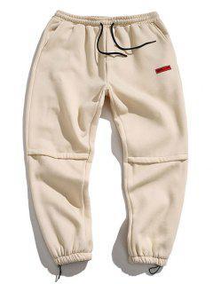 Letter Embroidered Applique Jogger Pants - Beige 4xl