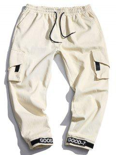 Multi Pocket Design Drawstring Cargo Pants - Beige Xs