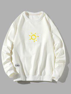 Sweat-shirt Pull-over Soleil Dessin Animé Imprimé - Blanc Xs
