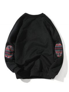 Raglan Sleeve Elbow Patchwork Sweatshirt - Black M