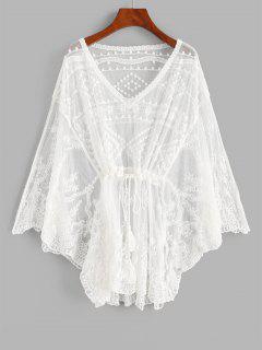 Tasseled Drawstring Lace Cover-up Dress - White