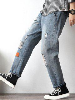Letter Applique Ripped Tapered Jeans - Blue M