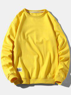 Pure Color Pullover Sweatshirt - Yellow Xs