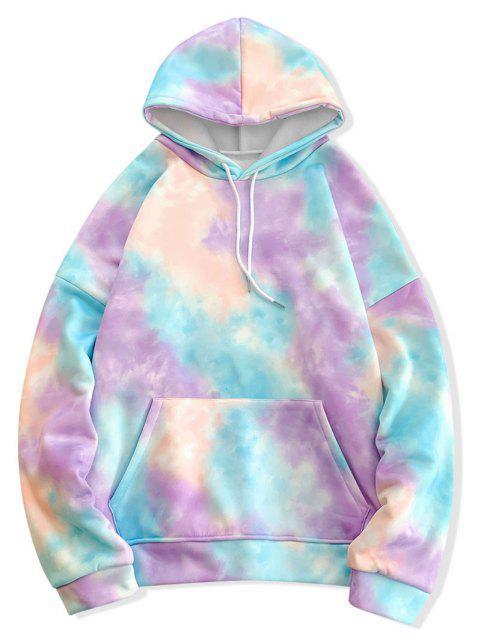 shop Tie Dye Pullover Fleece Drawstring Hoodie - BLUE M Mobile