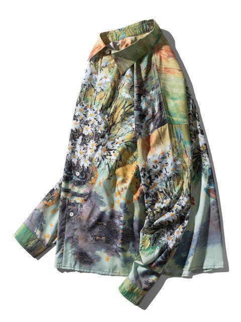 ladies Daisy Paint Pattern Drop Shoulder High Low Shirt - MULTI M Mobile