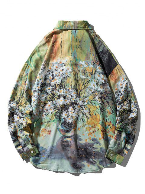 Camisa Asimétrica Patrón Pintura Margarita - Multicolor L Mobile