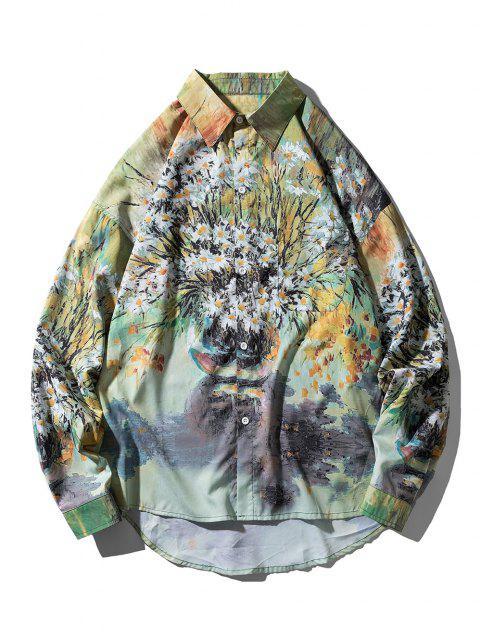 Camisa Asimétrica Patrón Pintura Margarita - Multicolor XL Mobile
