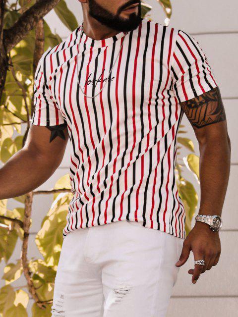 T-shirt Lettre Rayé Imprimé à Manches Courtes - Blanc L Mobile