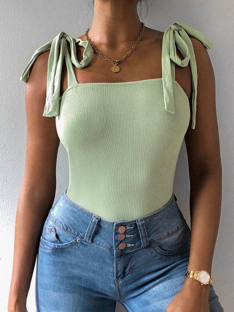 latest ZAFUL Snap Button Tie Shoulder Ribbed Bodysuit - LIGHT GREEN S Mobile