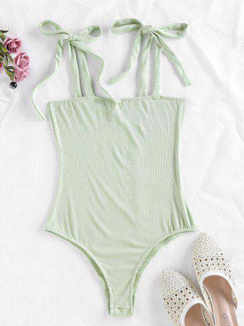 shop ZAFUL Snap Button Tie Shoulder Ribbed Bodysuit - LIGHT GREEN L Mobile