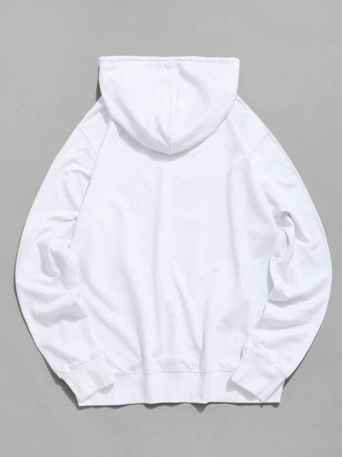 new Floral Tiger Graphic Drawstring Pouch Pocket Hoodie - WHITE 2XL Mobile