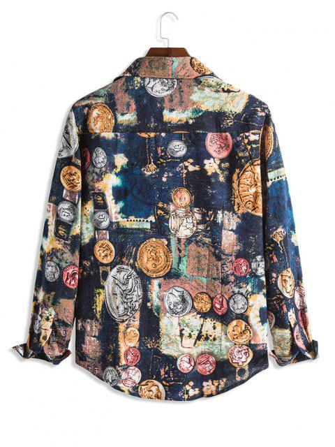 ladies Tie Dye Portrait Print Lounge Long Sleeve Shirt - MULTI XS Mobile
