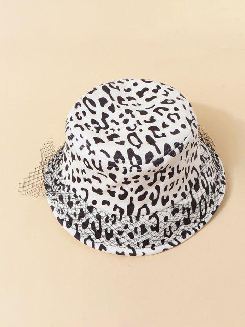 shop Mesh Embellished Cow Pattern Bucket Hat - WHITE  Mobile