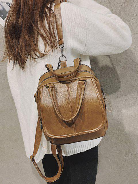 buy Retro PU Zipper Square Backpack - COFFEE  Mobile