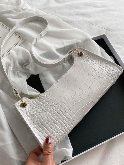 buy Rectangle Brief Textured Shoulder Bag - WHITE  Mobile