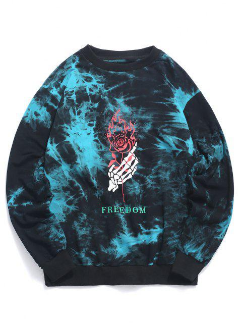 ZAFUL Sweatshirt Teinté Squelette et RoseenMain Imprimés - Bleu M Mobile