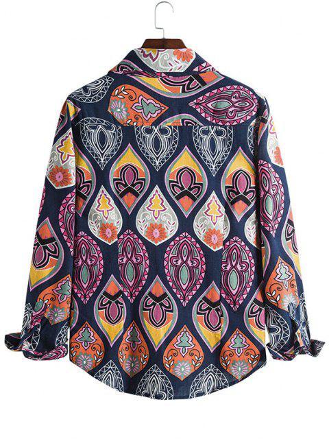 Lágrima Imprimir botón casual hasta la camisa - Multicolor L Mobile