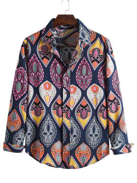 Lágrima Imprimir botón casual hasta la camisa - Multicolor XL Mobile
