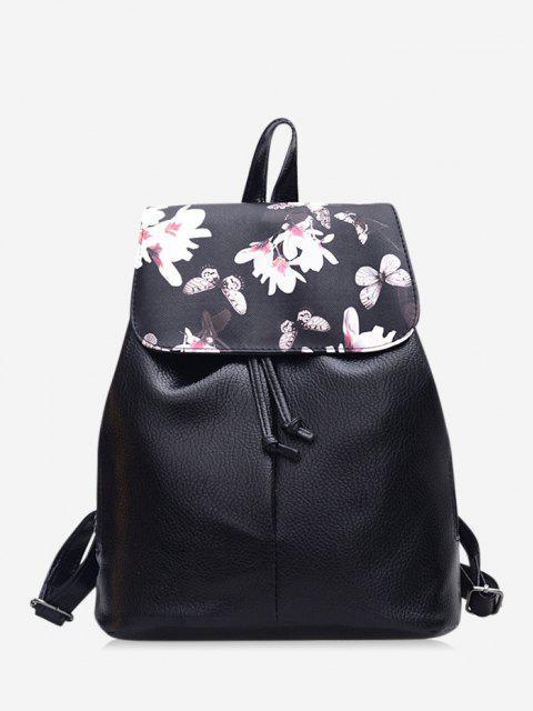 shop Floral Butterfly Print Drawstring Leather Backpack - BLACK  Mobile