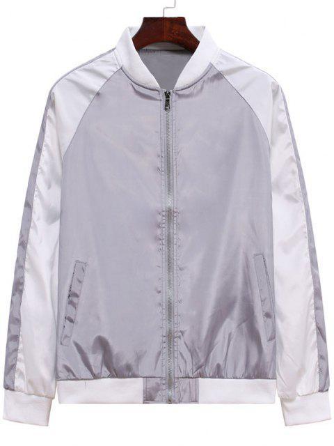 Farbblock Panel Jacke und Hose Zweiteiler Set - Graue Wolke XL Mobile