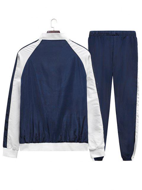 Ensemble de Veste Panneau en Blocs de Couleurs et de Pantalon Deux Pièces - Bleu Foncé Toile de Jean XL Mobile