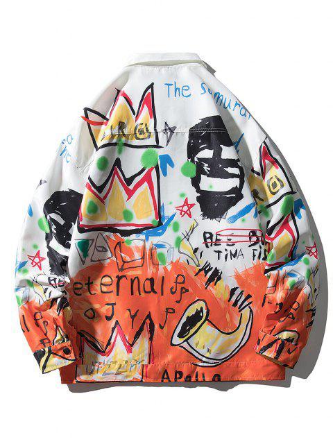 best Graphic Graffiti Print Drop Shoulder Jacket - MULTI XL Mobile