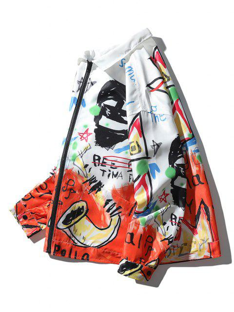 latest Graphic Graffiti Print Drop Shoulder Jacket - MULTI M Mobile