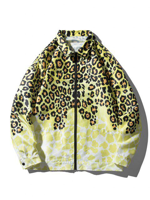 best Leopard Animal Print Pocket Jacket - YELLOW L Mobile