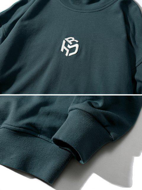 shops Embroidery Letter Mock Neck Drop Shoulder Sweatshirt - GREEN 3XL Mobile