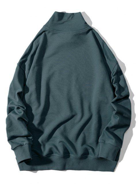 Stickerei Buchstabe Stehkragen Hängender Schulter Sweatshirt - Grün L Mobile
