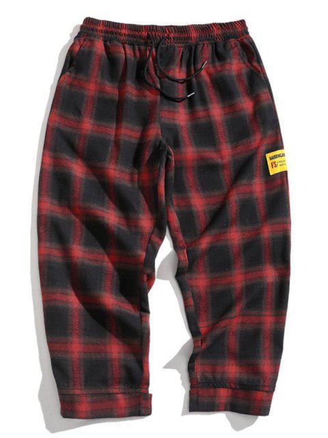 Pantalones Casuales a Cuadros con Estampado de Letras - Color rojo oscuro XS Mobile