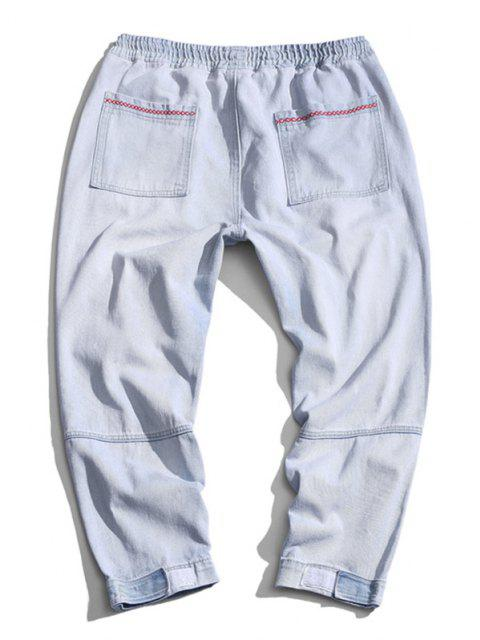 best Letter Geometric Embroidered Tapered Jeans - LIGHT BLUE XS Mobile