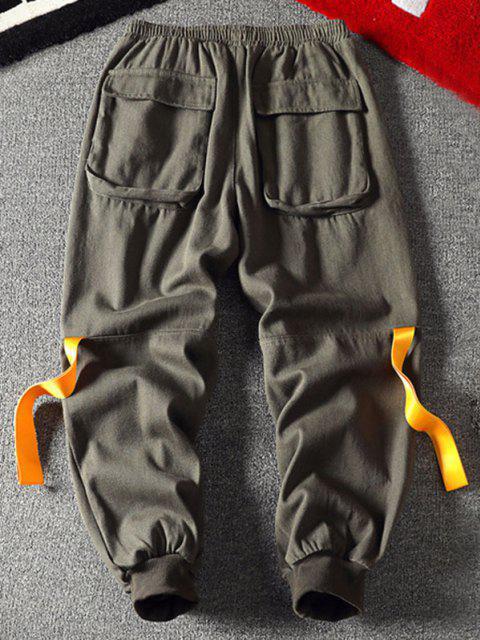 Bänderdruck Reißverschluss Taschen Cargo Hose - Armeegrün XL Mobile