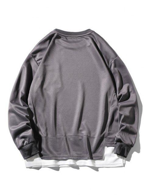 womens Letter Print Pocket Faux Twinset Sweatshirt - GRAY 3XL Mobile