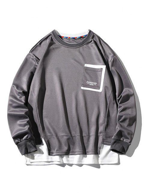 Sweat-shirt Lettre Imprimé avec Poche Fausse Deux Pièces - Gris 4XL Mobile