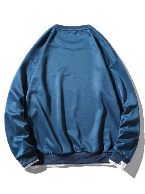 latest Graphic Applique Contrast Faux Twinset Sweatshirt - BLUE S Mobile