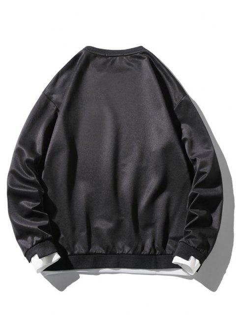 sale Graphic Applique Contrast Faux Twinset Sweatshirt - BLACK M Mobile