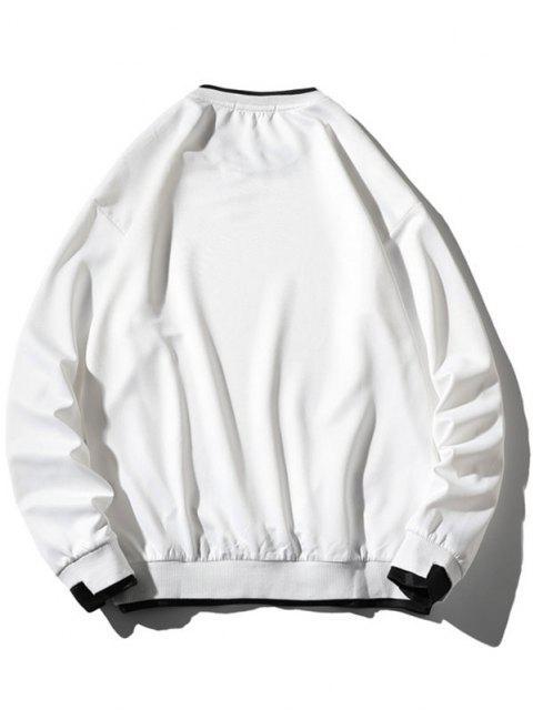 buy Graphic Applique Contrast Faux Twinset Sweatshirt - WHITE XL Mobile