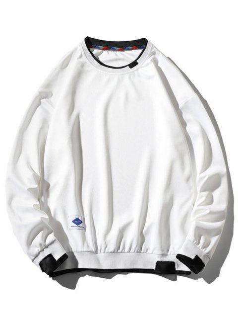 best Graphic Applique Contrast Faux Twinset Sweatshirt - WHITE XS Mobile