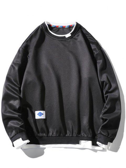 Sweat-shirt Applique Graphique Contrasté Fausse Deux Pièces - Noir XL Mobile