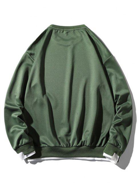online Graphic Applique Contrast Faux Twinset Sweatshirt - GREEN S Mobile