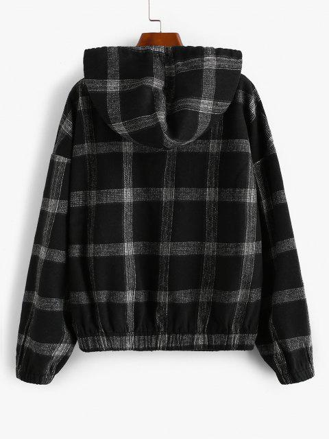 ZAFUL Hooded Plaid Zip Up Wool Blend Jacket - أسود S Mobile
