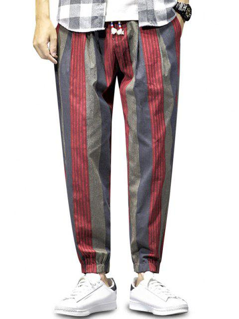 outfit Colorblock Striped Pattern Beam Feet Pants - RED WINE XS Mobile